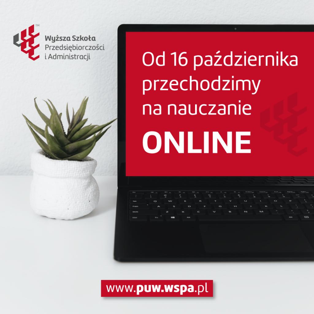 Od 16 października 2020 przechodzimy na nauczanie online