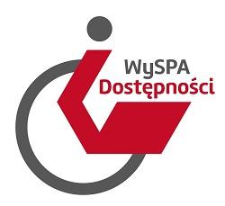 Logo projektu WySPA Dostępności - logo przypomina osobę niepełnosprawna na wózku