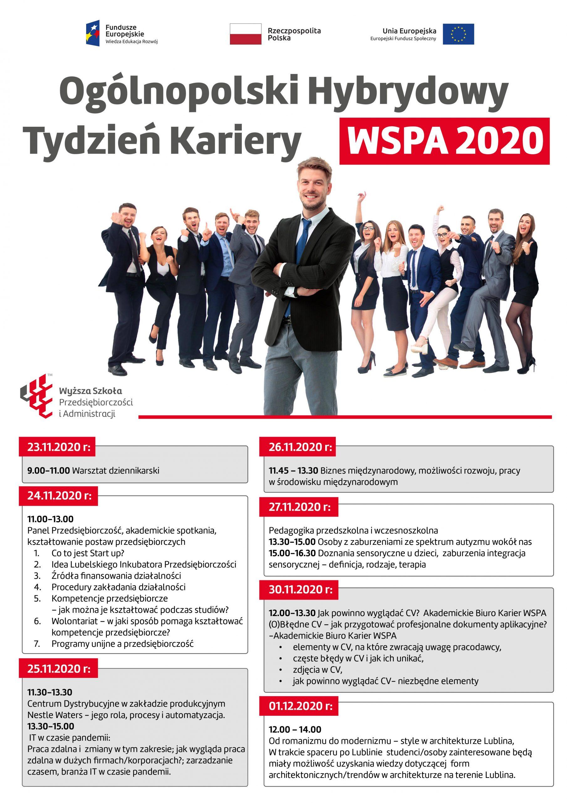 Program ogólnopolskiego Hybrydowego Tygodnia kariery w postaci graficznej.